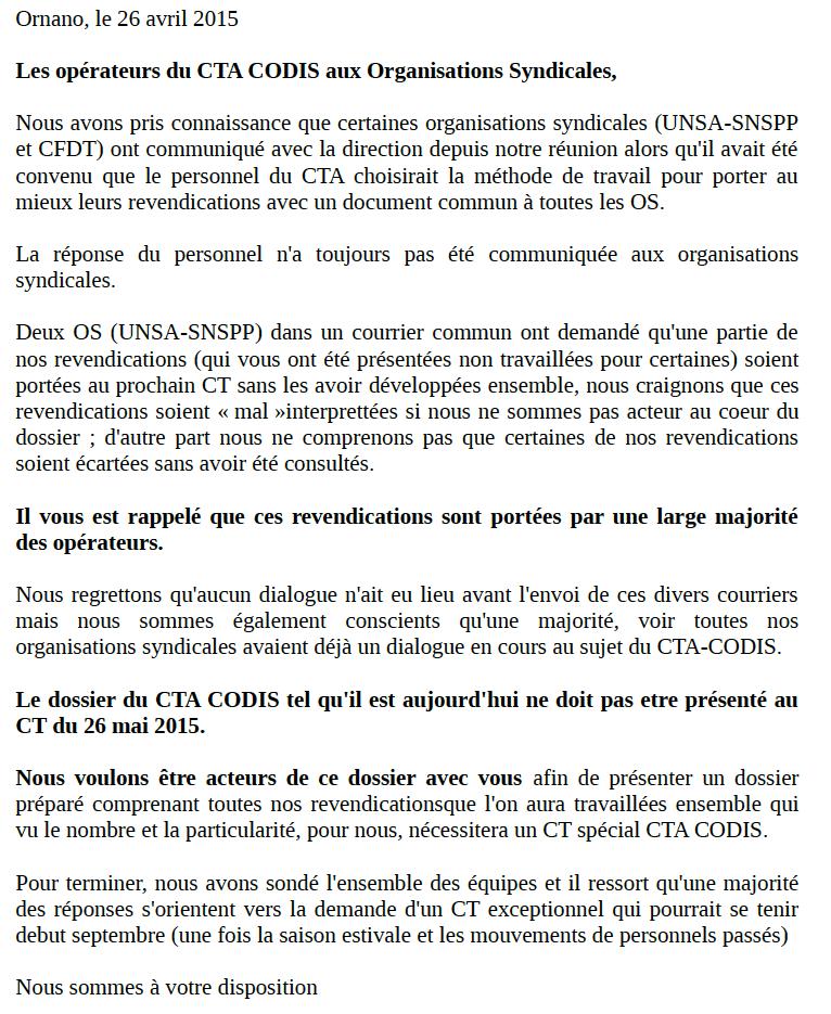 Réponse du collectif aux OS 26-04-2015