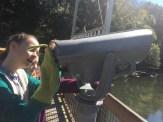 Gloups looking through telescope