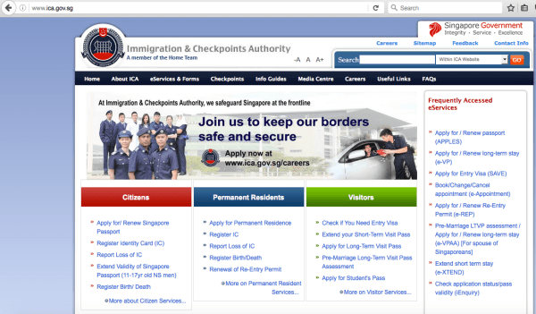 Screenshot of the real ICA website at http://ica.gov.sg