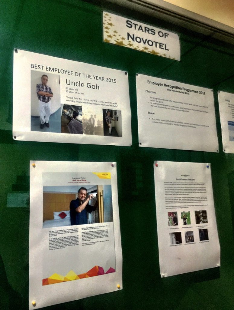 Accolades and write-up on Uncle Goh on the notice board along the corridor at Novotel Clarke Quay.