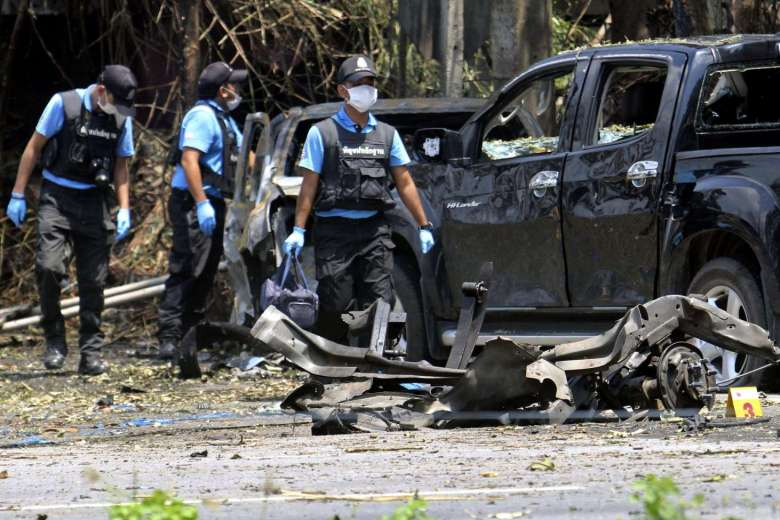 The site of a bomb blast at a checkpoint in southern Thailand, on July 5, 2016. (PHOTO: EPA via Straits Times)