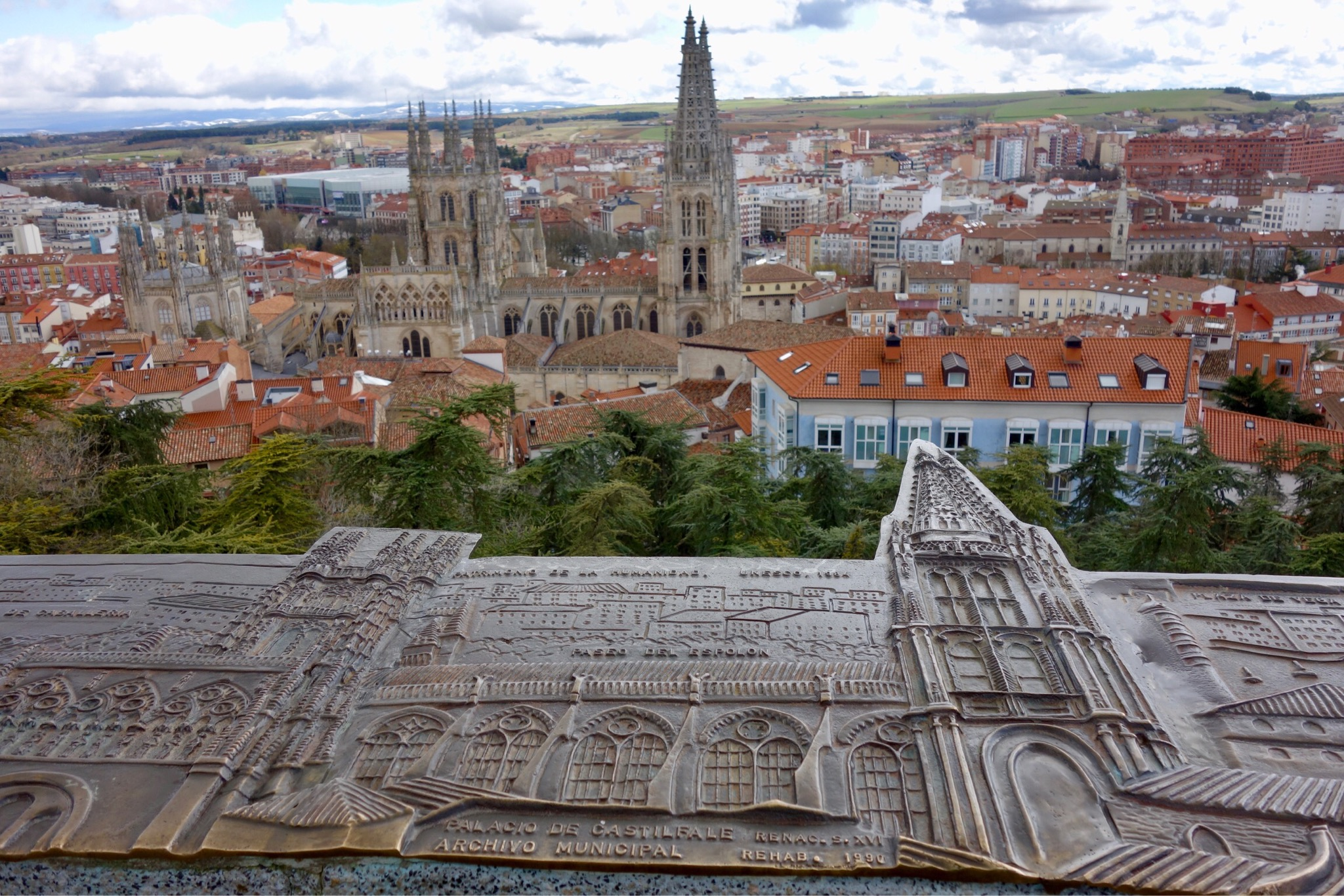 A view over Burgos city center, with the cathedral