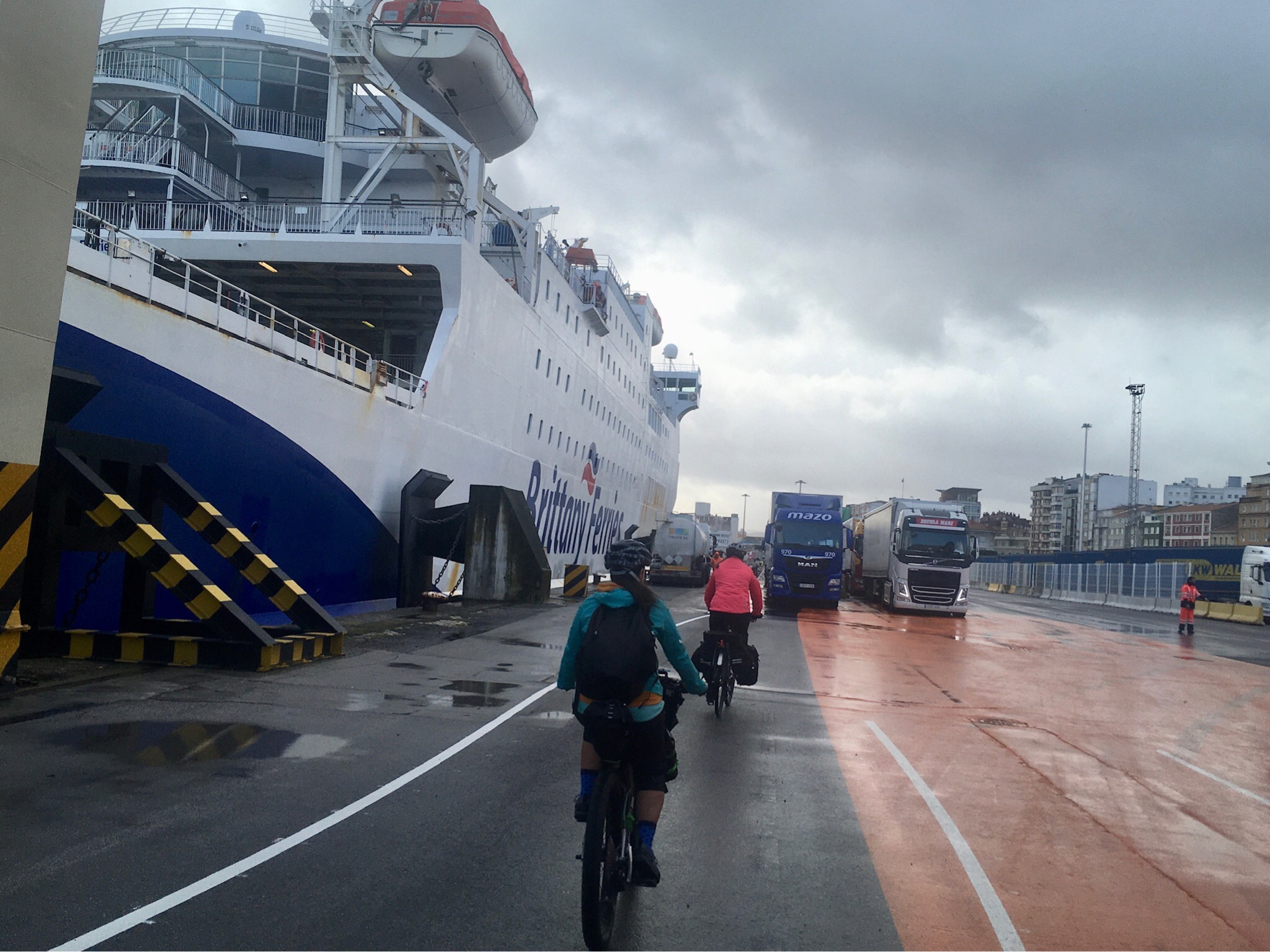 Riding off the ferry in Spain