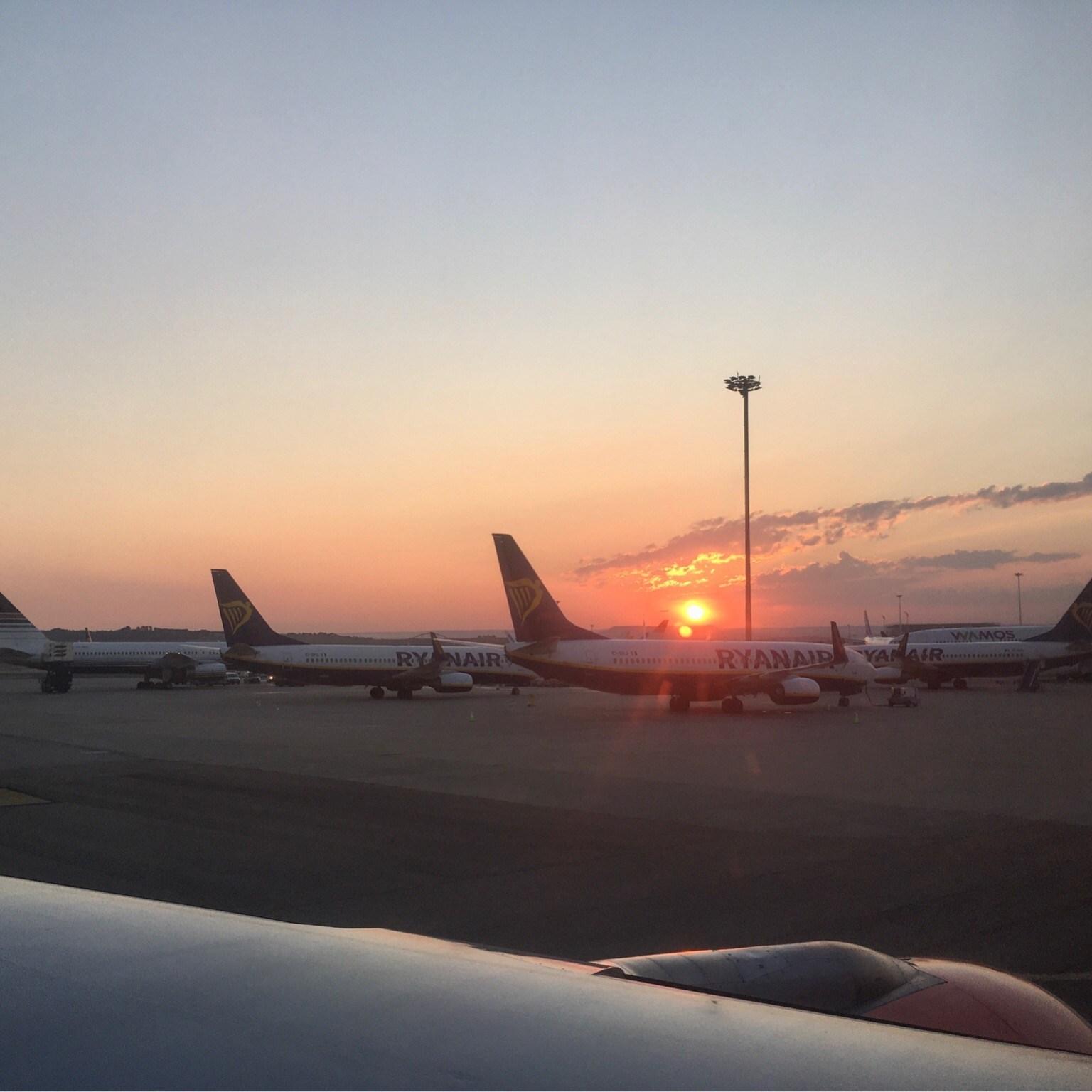 Sunrise over Madrid Airport