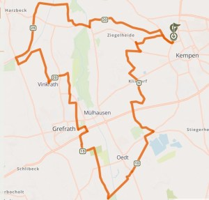 Kartenausschnitt der Radrundtour