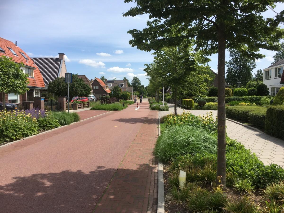 Foto einer Radschnellstraße im Anwohnerbereich