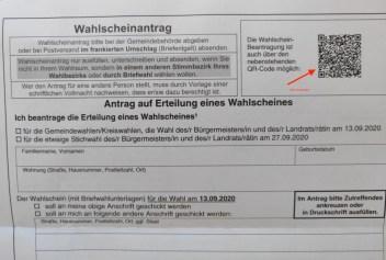 Foto Wahlbenachrichtigung mit QR-Code