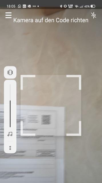 Foto Auswahlrahmen zur Erkennung von QR-Codes