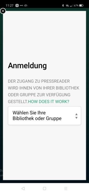 Screenshot Anmeldung mit Bibliothek