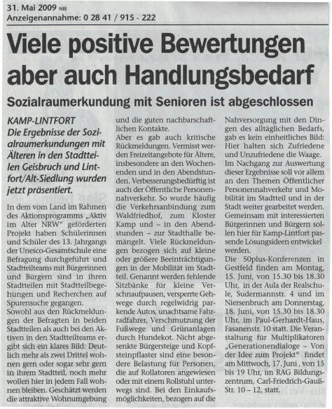 Pressemitteilung Lokal-Nachrichten 31.05.2009
