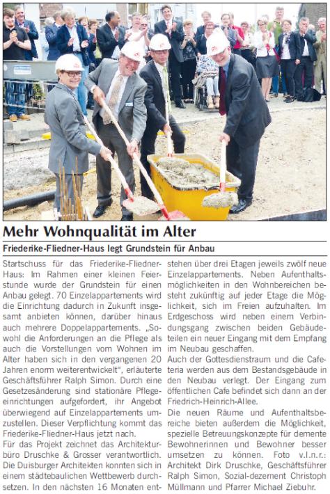 Zeitungsartikel Mehr Wohnqualität im Alter - Kamp-Lintforter Stadt-Anzeiger 30.07.2014