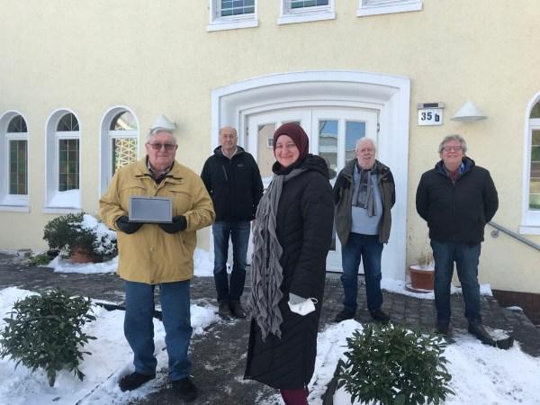 v.l.: Jakob Güther, Wolfgang Angerhausen, Hatice Kardas, Hubert Theuss, Friedrich Weber. Foto: Kardas, Netzwerk 55plus!Meerbeck