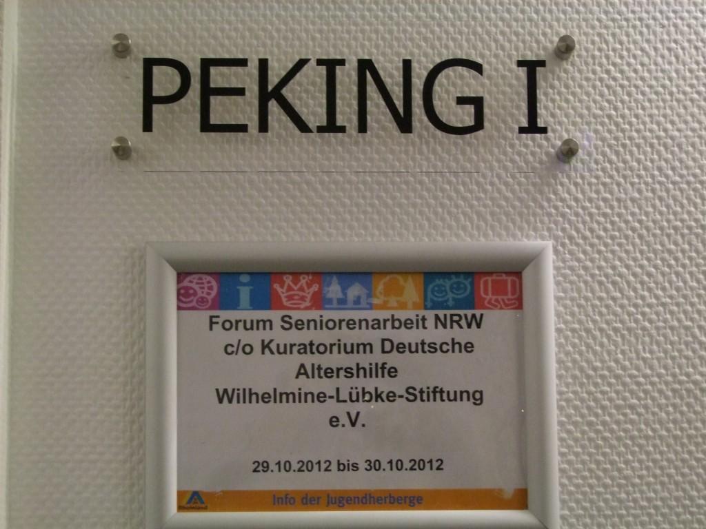 Türschild 1. Herbstakademie des Forum Seniorenarbeit NRW 2012