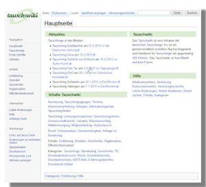 Die Startseite des Tauschwikis mit Inhaltsverzeichnis