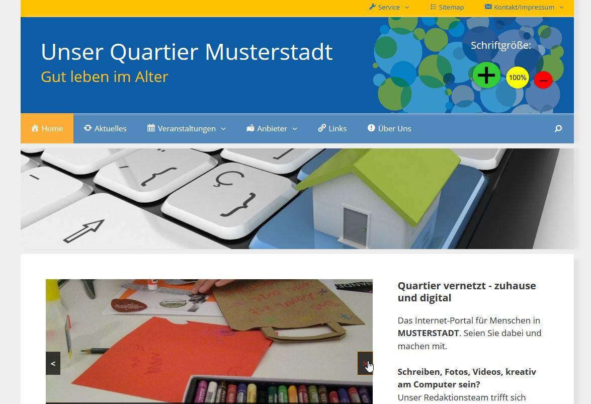 Screenshot des Musterblogs