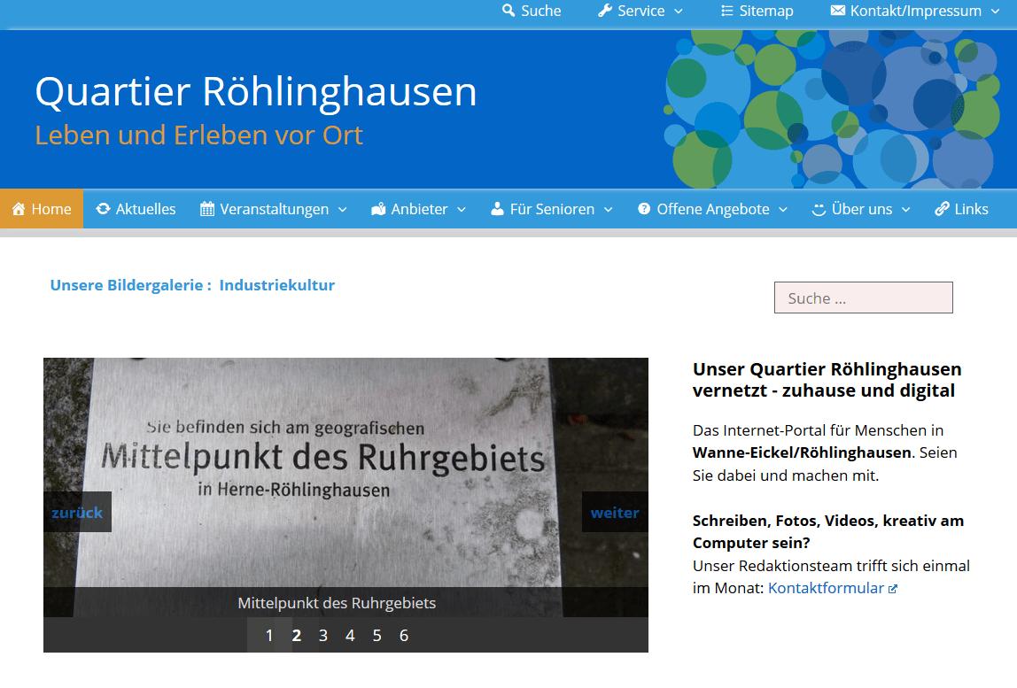 Screenshot Quartier Röhlinghausen – Leben und Erleben vor Ort