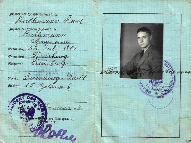 Ruthmann_Hermann_1924_Erlaubniskarte Handel mit Vieh