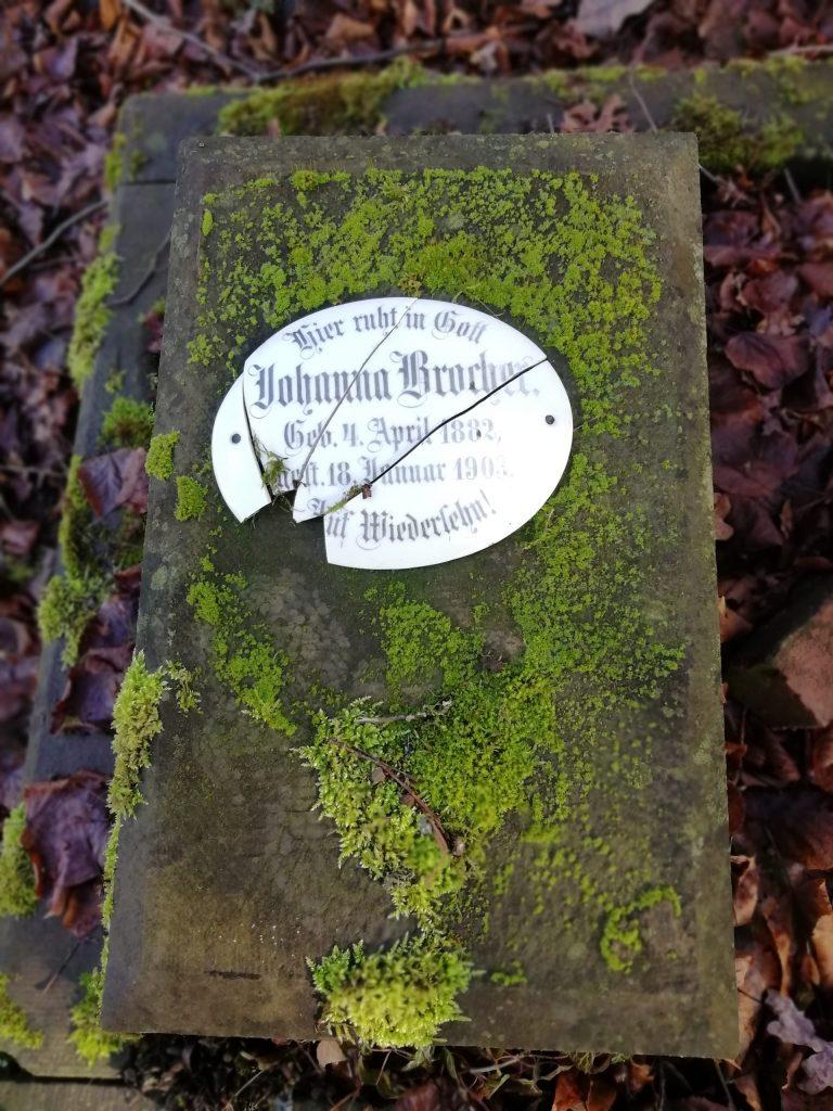 .Kindergrab von 1903 mit Herbstschmuck. Historischer Friedhof am Wellersberg in Siegen.