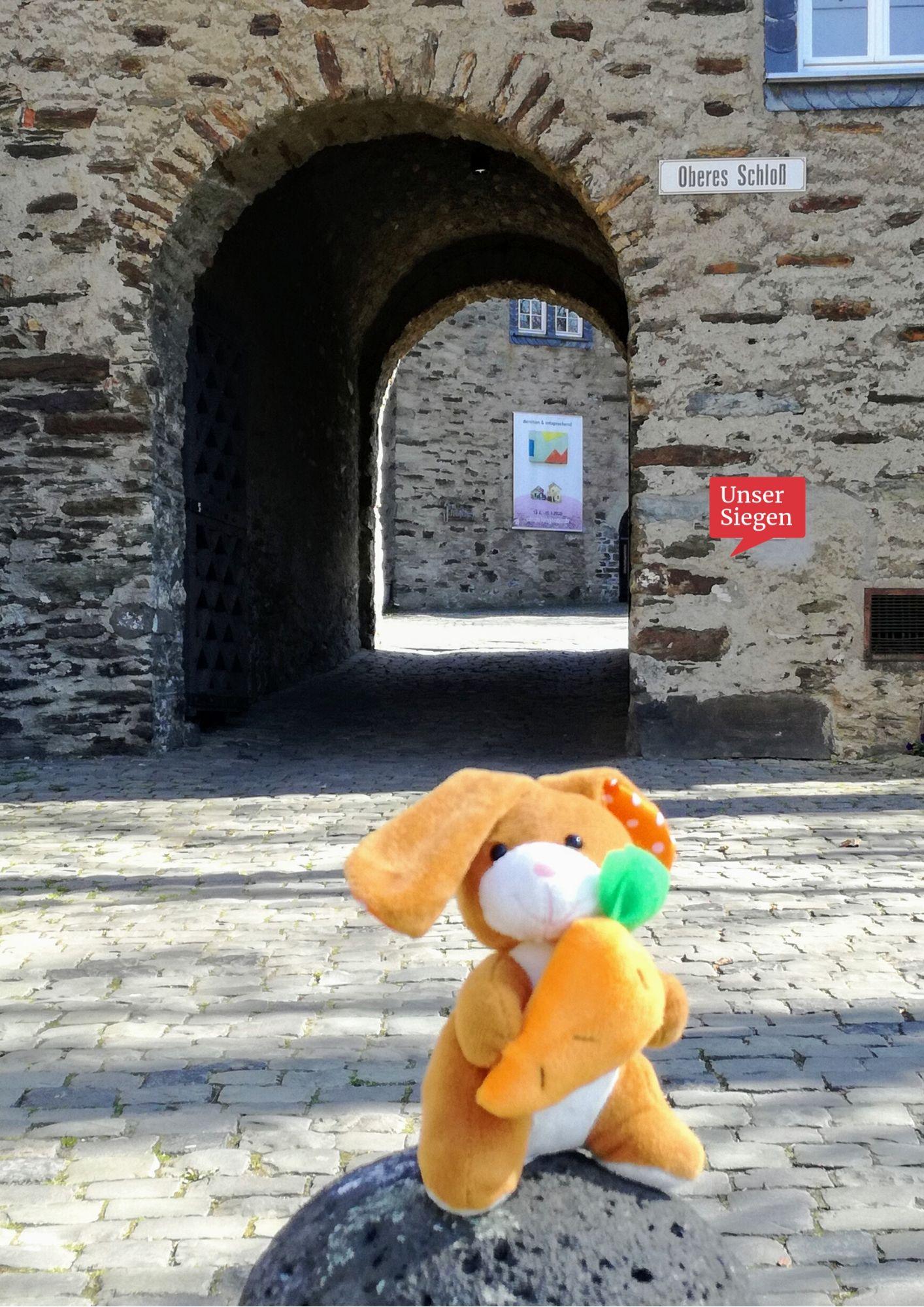 Der vergessliche Plüschhase sitzt vor dem Torbogen des Oberen Schlosses in Siegen. Foto mit freundlicher Genehmigung von Sarah Wagener
