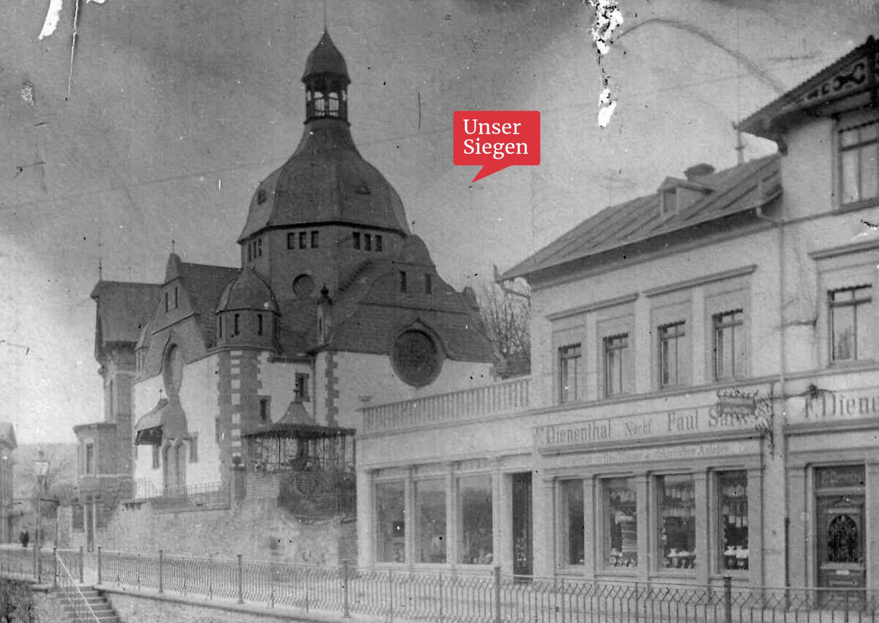 Die Synagoge am Obergraben in Siegen, alte Fotoaufnahme um 1905. Mit freundlicher Genehmigung des Stadtarchivs Siegen, Bestand 704, Fo 1856.