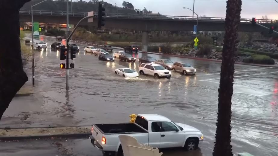 Lamborghini Driving into Floodwaters in San Diego