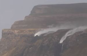 Scottish Waterfall Flowing Backwards in Strong Storm Winds