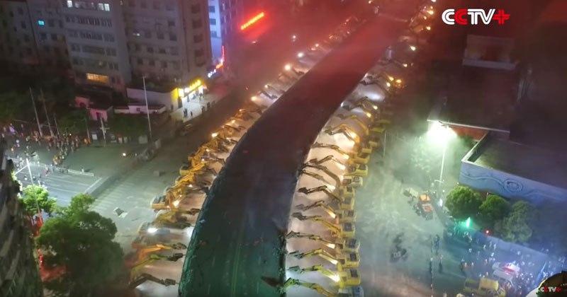 Excavators Demolish an Overpass in a Single Night