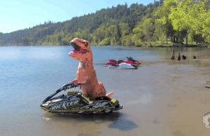 T-Rex On a Jet Ski Doing Some Unreal Stunts