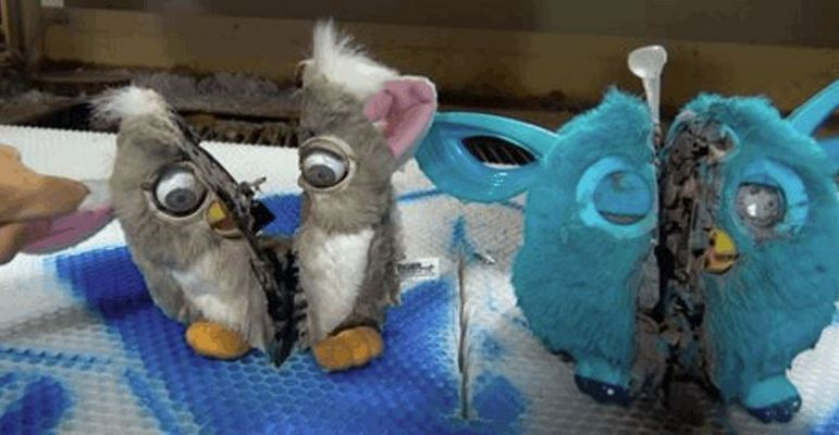 Furby Models Cut Open With a Water Jet