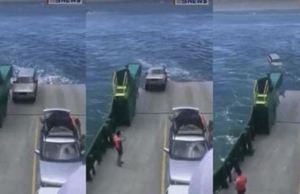 Dramatic Footage Shows Car Felling Off A Ferry