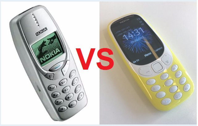 Comparison Between The Old And New Nokia 3310