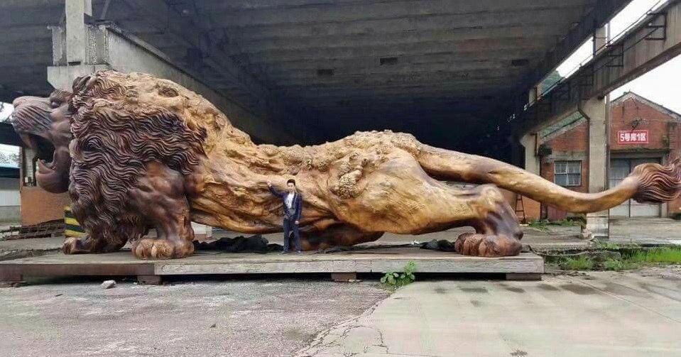 Wooden Lion Carved