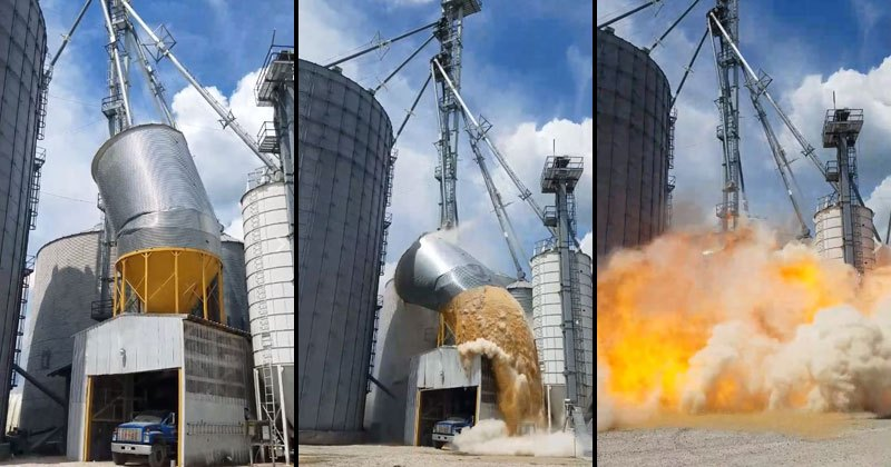 Check Out The Grain Tank Collapsing and Exploding in Indiana
