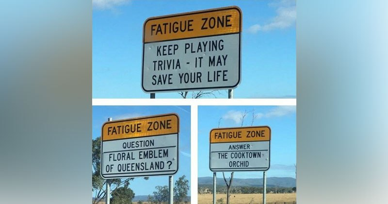 Trivia Signs In Australia Are Placed To Keep Bored DriversAlert