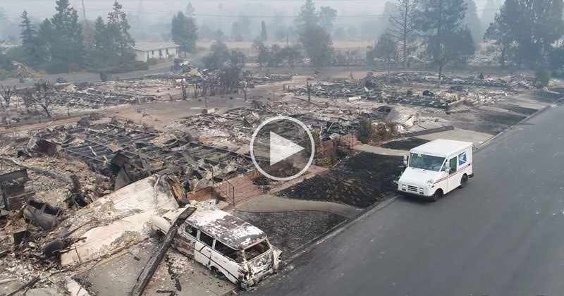 drone-captures-postman-delivering-mail-in-cali-wildfires