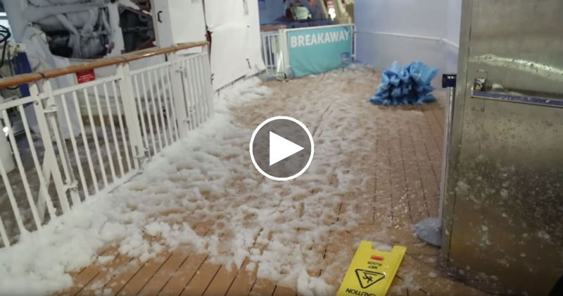 Norwegian Cruise Ship Stuck in Bomb Cyclone and Passenger Documents the Wreckage