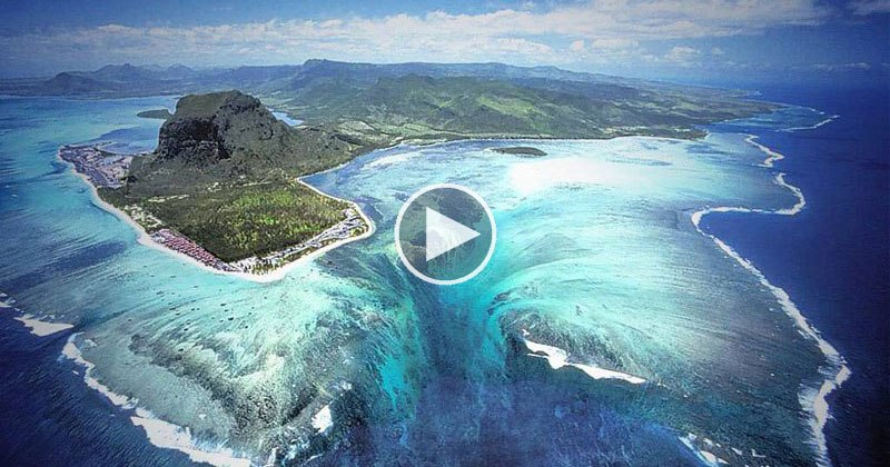 Drone Captures Video of Mauritius' Underwater Waterfall Illusion