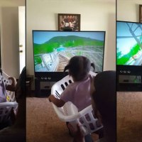 Brilliant Dad Makes Roller Coaster Ride for Daughter With a Laundry Basket