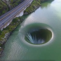 Awesome and Fast Aerial Flybys of the Glory Hole Spillway at Monticello Dam