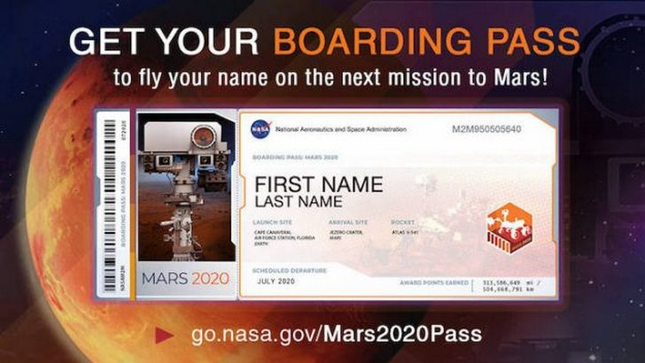 Send Your Name to Mars On 2020 Rover And Get a Souvenir Boarding Pass