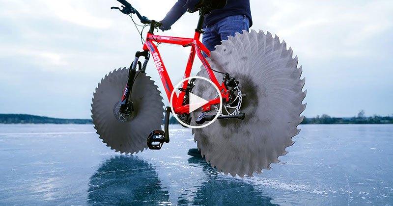 Giant Saw Blades on Bike