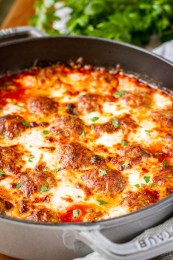 Simple 5-Ingredient Cheesy Meatball Casserole -- this easy meatball casserole boasts just 5 ingredients, yet is still packed with flavor… Serve it as is, over pasta, or on sandwich rolls for a versatile weeknight dinner! | meatball casserole recipe | baked meatball casserole | italian meatball casserole | meatball casserole weeknight meals | find the recipe on unsophisticook.com