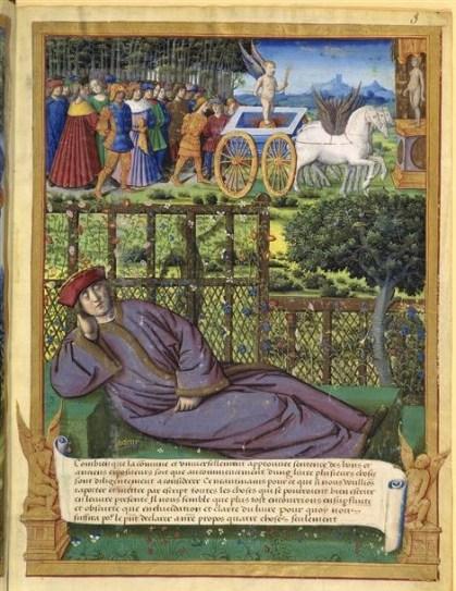 Maître des Triomphes de Petrarque, Songe de Pétrarque, 1503, BNF, RMN
