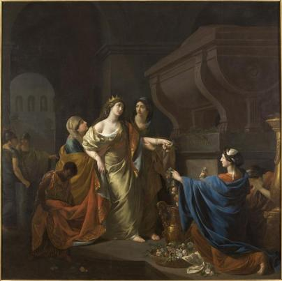 Menageot François Guillaume, 1785, Cléopâtre au tombeau de Marc-Antoine, musée des Beaux-Arts, Angers.jpg