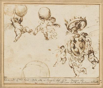 Alberti Giovanni, Putti volant, portant l'écu couronné et les boules des Médicis, XVIe, Louvre, Pari, RMN.jpg