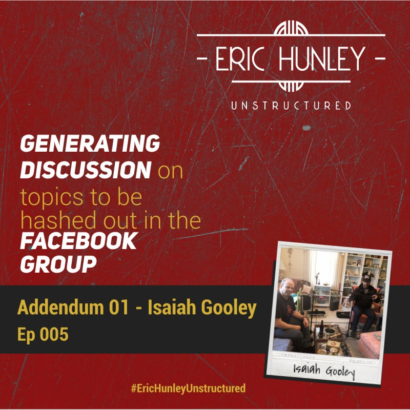 Eric Hunley Unstructured Podcast - 005 Addendum 01 Square Post