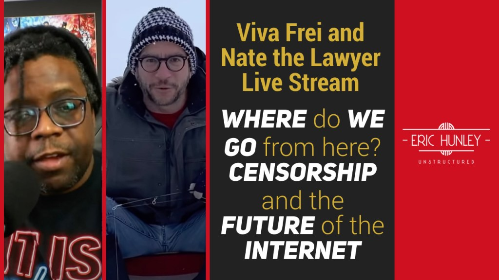 Eric Hunley Unstructured Live Stream Interviews - Viva Frei and Nate the Lawyer Live Stream YouTube Thumbnail