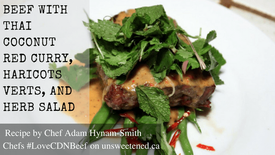 Chef Adam Hynam-Smith's Beef with Thai Coconut Red Curry, Haricots Verts, and Herb Salad