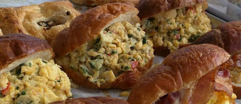 egg salad sandwich on croissant