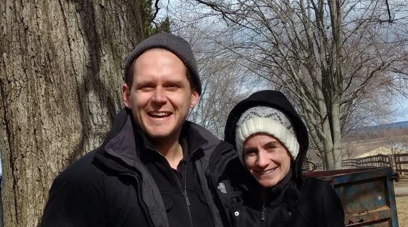 One Modern Couple Joins In Tapping Maple Trees for Making Maple Syrup